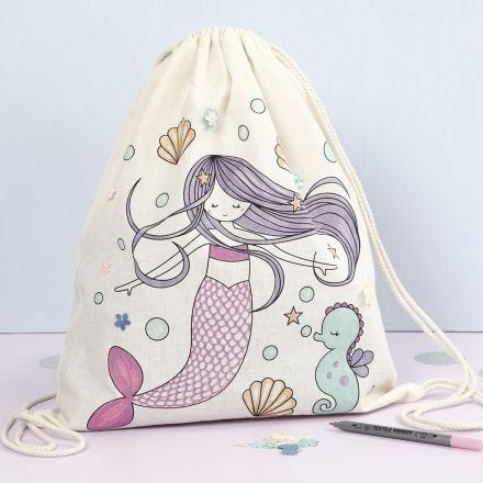 A Drawstring Bag with a pre-printed Mermaid Design decorated with Textile Markers and Sequins