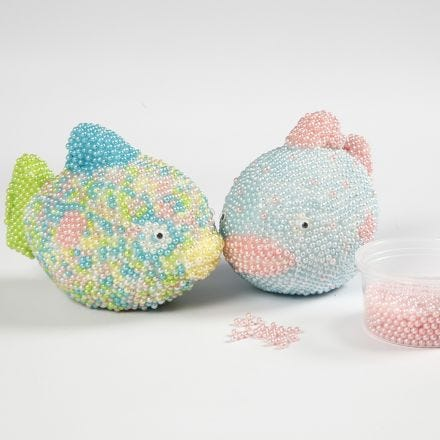 Polystyrene Fish covered with Pearl Clay