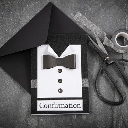 A black/white Invitation with a Shirt & Bow Tie from textured Paper with Rhinestone Buttons