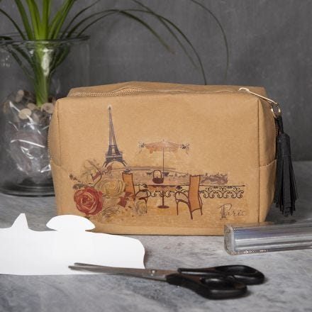 A Faux Leather Paper Make-up Bag with a Transfer Paper Design