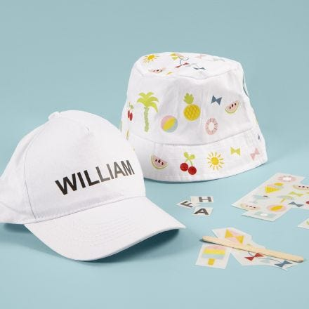 A Bucket Hat and a Cap decorated with Rub-on Stickers