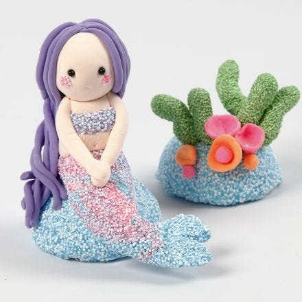 A Mermaid and Coral Reef from Foam Clay and Silk Clay