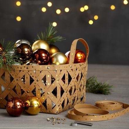 A Basket made from Faux Leather Paper Star Strips with Rivets