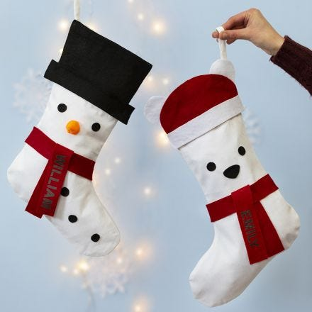 A Christmas Stocking decorated as a Snowman and a Polar Bear
