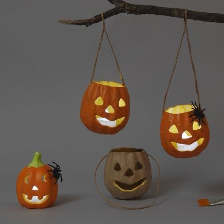 Papier-mâché and Terracotta Lanterns for Halloween