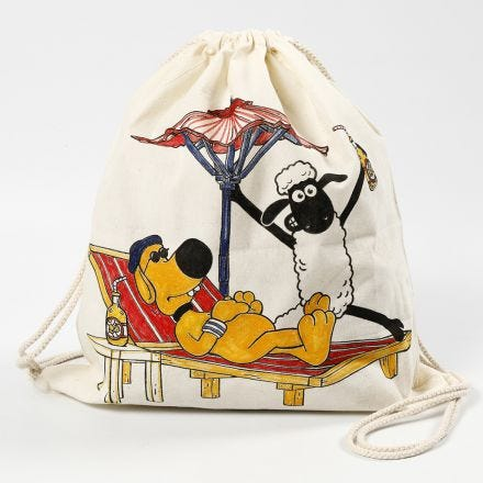 A Shaun The Sheep drawstring bag decorated with textile markers