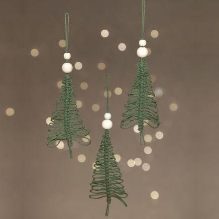 A hanging macramé Christmas tree
