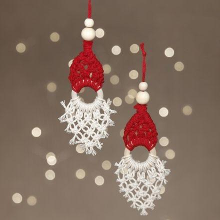 A macramé Santa hanging decoration