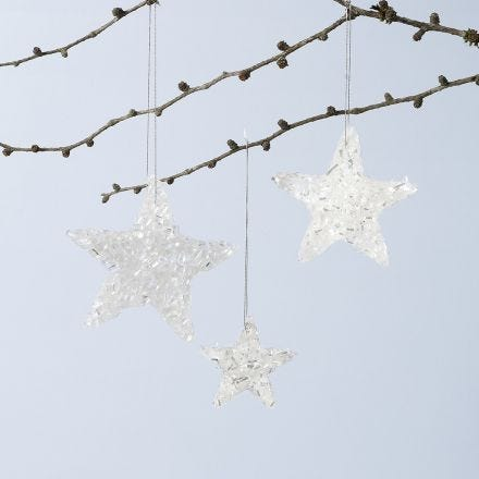 Shiny star hanging decorations made from Sticky Base and glitter