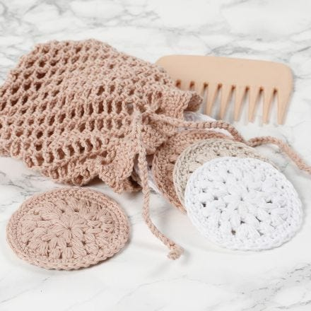 Crocheted cotton pads and a wash bag