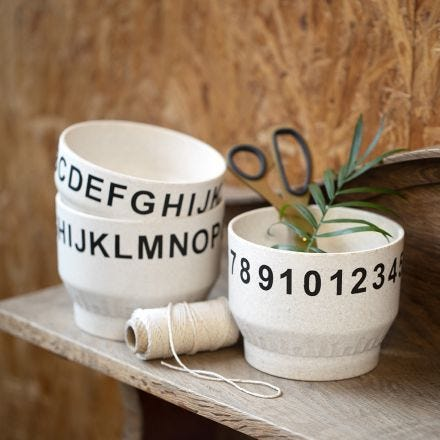 Bamboo Bowls decorated with Numbers and Letters