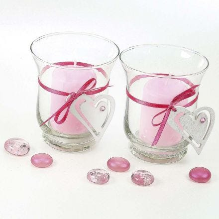 Candle Holders with a Satin Ribbon Waistband with a Heart