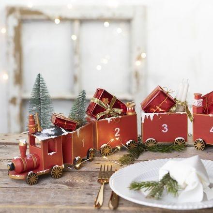 A wooden train Advent calendar