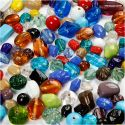 Glass Bead Mix, size 7-18 mm, hole size 1 mm, assorted colours, 1000 g/ 1 pack