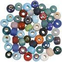 Glass Bead Mix, D: 9 mm, hole size 2,5-3 mm, assorted colours, 500 g/ 1 pack