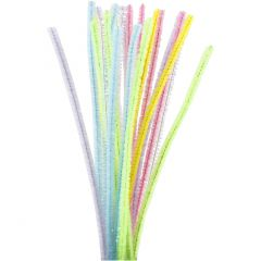 Pipe Cleaners, L: 30 cm, thickness 6 mm, glitter, pastel colours, 24 pc/ 1 pack
