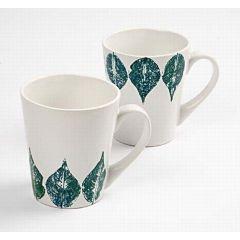 Mug with leaf prints