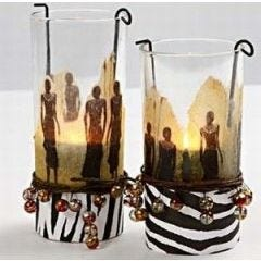 Cylinder Glasses with Napkin Decoupage
