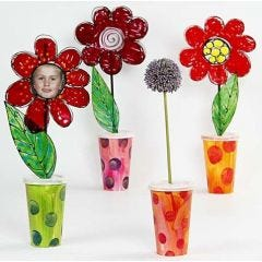 Paper Cup Vases with Flowers painted with Window Color Paint