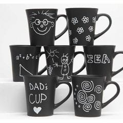 Black Mugs with a white Glass and Porcelain Marker