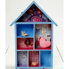 A House Shaped Shelving System with Decoupage