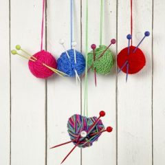 Christmas Baubles made from Balls of Wool