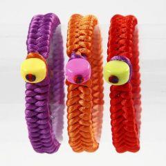 Braided Satin Bracelets with Plastic Beads