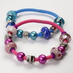Silicone Bracelets with Glass Charm Beads