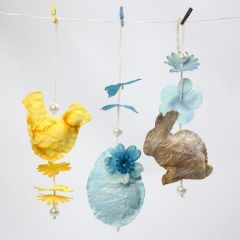 Easter Shapes sewn from Handmade Paper