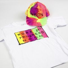 Neon Textil Color Fabric Paint on a T-Shirt and a Cap
