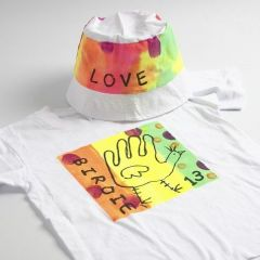 Neon Textile Colour Fabric Paint on a T-Shirt and a Bucket Hat
