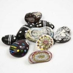 Decorative Stones with colourful Patterns and a luminous Effect