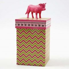 A Box decorated with Design Paper, Masking Tape and a Bull on Lid