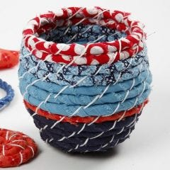 Coiled Basket Weaving with Organic Cotton Fabric