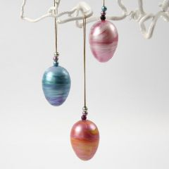 Hanging Decorations from Eggs rolled in A-Color Metallic Paint