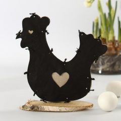A ruffled Hen made from Imitation Fabric on a Birch Disc