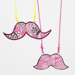 Moustache Jewellery Pendants from decorated Shrink Plastic Sheets