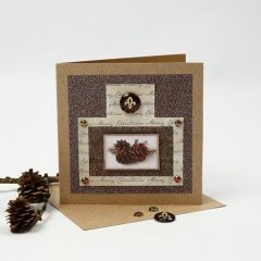 A Christmas Card with Glitter Foil, Design Paper and a Cabochon
