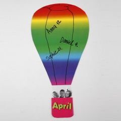 Hot Air Balloon from Rainbow Card with a Corrugated Board Basket