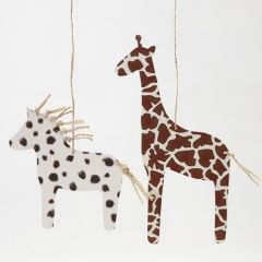 A Horse and a Giraffe made from Card with an Animal Fur Print