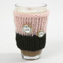 A Cup Cosy knitted from Melbourne Wool