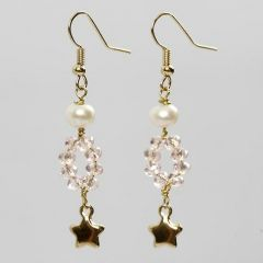Gold-plated Earrings with faceted Beads and Freshwater Pearls