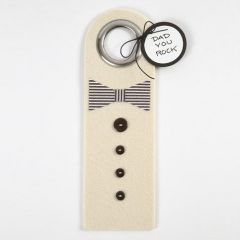 A Felt Door Hanger with a Bow Tie and Buttons