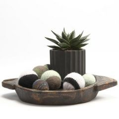 A knitted and felted decorative Bauble