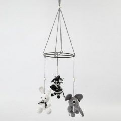 A Mobile with crocheted Animals