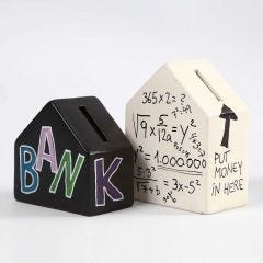 Terracotta Money Boxes decorated with Text and Numbers