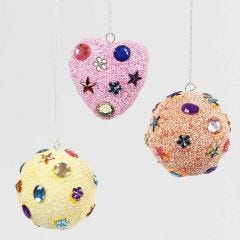 Hanging Decoration with pastel-coloured Foam Clay & Rhinestones