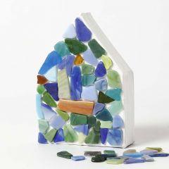 A painted Papier-Mâché House with Glass Mosaic