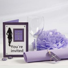 A purple Invitation and Table Decorations for a Confirmation Party