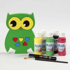 A free-standing Owl painted in different Colours